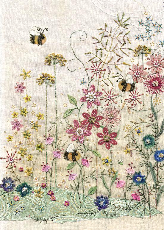 Bee Greeting Card - BEES In A MEADOW CARD - BLANK Cards - BEE Card - BUMBLE