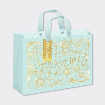 Just Married Gift Bag - GIFT Bags For WEDDING Presents - LARGE Landscape GIFT Bags - Gift BAGS - Wedding GIFT BAG With TAG ‐ Pretty GOLD Foil GIFT Bag