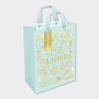 Just Married Gift Bag - GIFT Bags For WEDDING Presents - MEDIUM Portrait GIFT Bags - Gift BAGS - Wedding GIFT BAG With TAG ‐ Pretty GOLD Foil GIFT Bag
