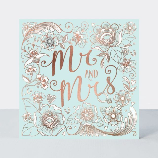 Mr & Mrs Wedding Day Greeting Card - LUXURIOUS Hand Finished WEDDING Card -