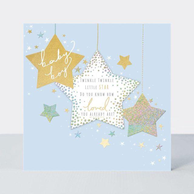 New Baby Boy Cards - TWINKLE Twinkle LITTLE Star - BABY Boy CARDS - Newborn