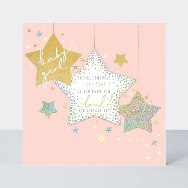 New Baby Girl Cards - TWINKLE Twinkle LITTLE Star - BABY Girl CARDS - Newbo