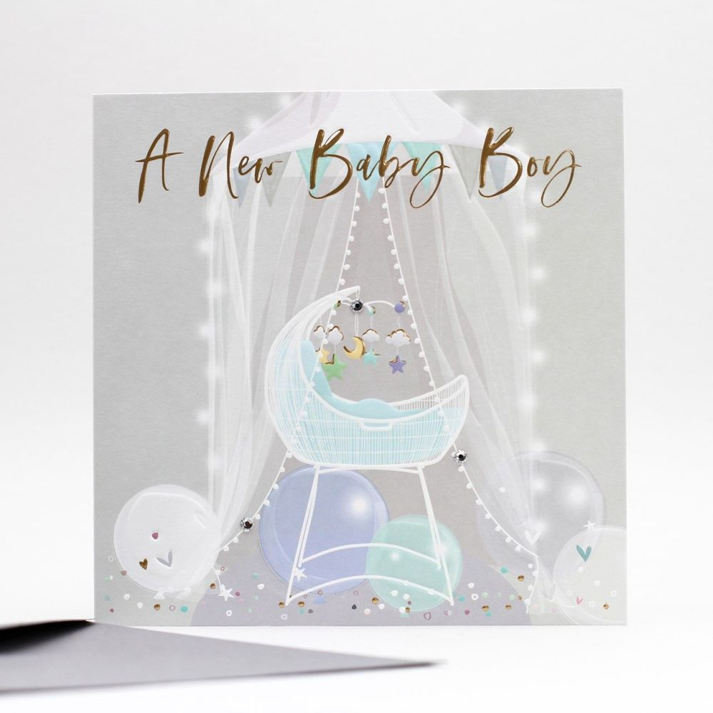 A New Baby Boy Greeting Card - NEW Baby BOY Cards - EXUISITE New BABY Boy