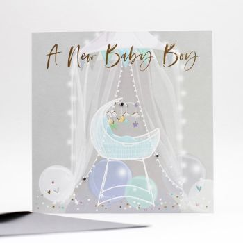 A New Baby Boy Greeting Card - NEW Baby BOY Cards - EXUISITE New BABY Boy Card - EMBELLISHED New BABY Card - BALLOONS & Crib BABY Boy CARD