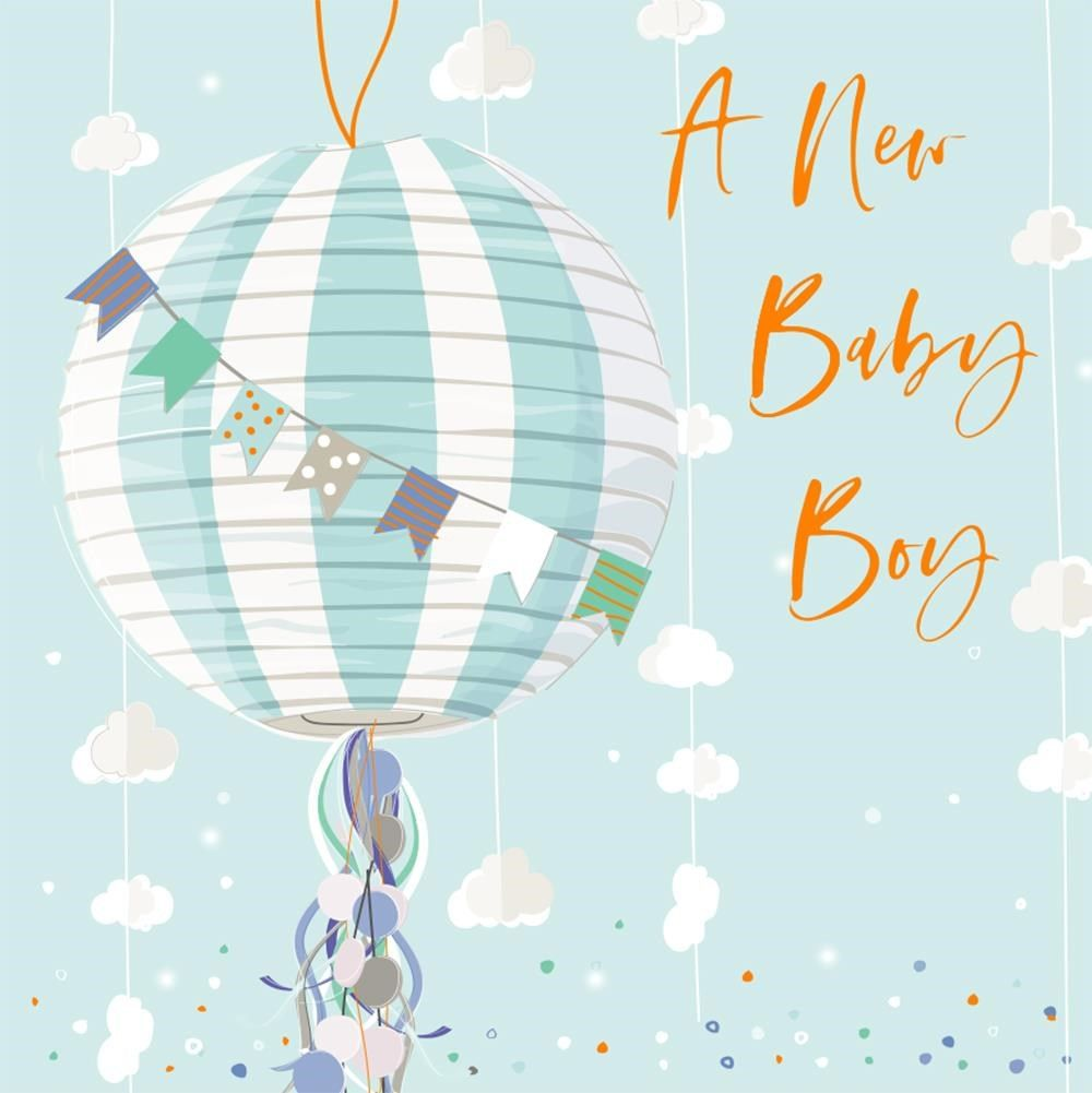 A New Baby Boy Greeting Card - NEW Baby BOY Cards - EXUISITE New BABY Boy C