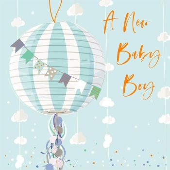 A New Baby Boy Greeting Card - NEW Baby BOY Cards - EXUISITE New BABY Boy Card - EMBELLISHED New BABY Card- BALLOONS & Bunting BABY Boy CARD