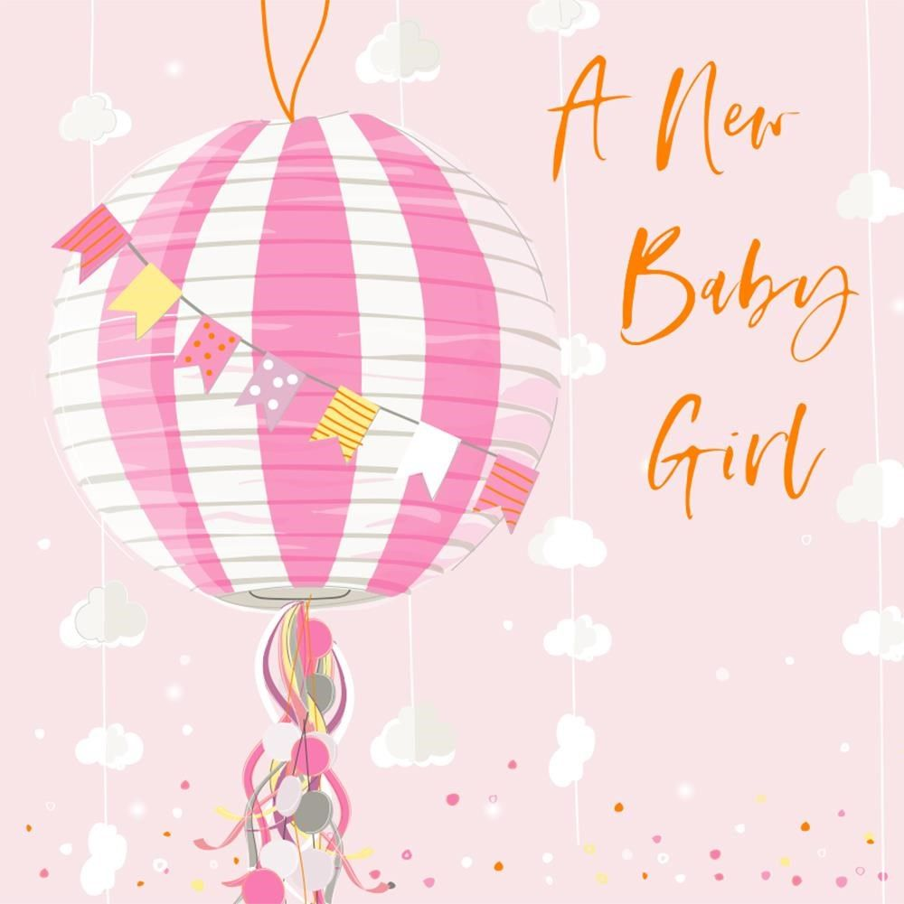 A New Baby Girl Greeting Card - NEW Baby GIRL Cards - EXUISITE New BABY Gir