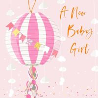 A New Baby Girl Greeting Card - NEW Baby GIRL Cards - EXUISITE New BABY Girl Card - EMBELLISHED New BABY Card - BALLOONS & Bunting BABY Girl CARD