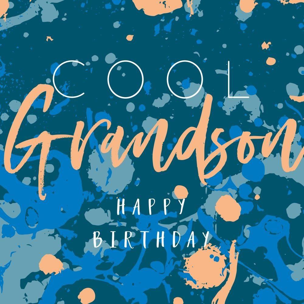 Cool Grandson Birthday Card - HAPPY BIRTHDAY - Colourful BIRTHDAY Card For