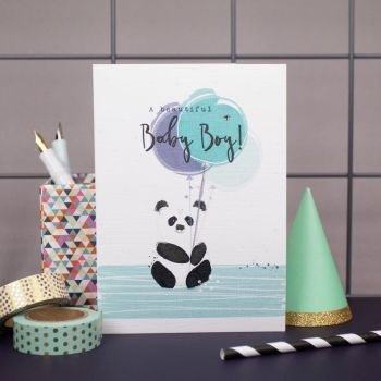New Baby Boy Cards - A BEAUTIFUL Baby BOY - New BABY Cards - NEWBORN Baby Boy CARDS - Cute PANDA & Balloons BABY Card - BABY Greeting CARDS