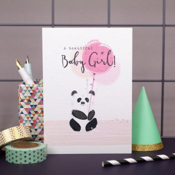 New Baby Girl Cards - A BEAUTIFUL Baby GIRL - Baby GIRL Cards - CUTE Panda With BALLOONS Card - Congratulations BABY Girl CARD - New BABY Wishes