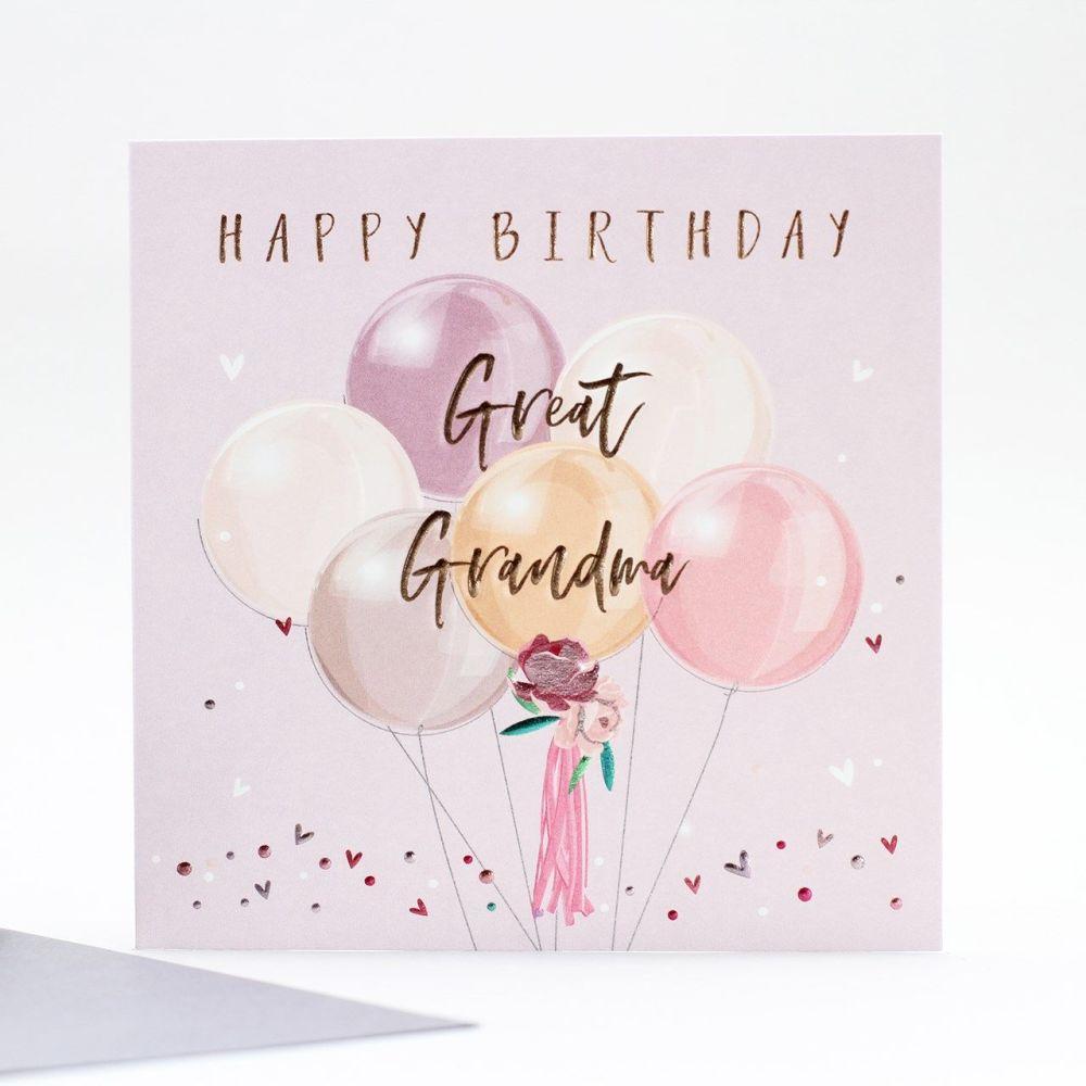 Great Grandma Birthday Cards - HAPPY Birthday - BEAUTIFUL Pastel BALLOONS B
