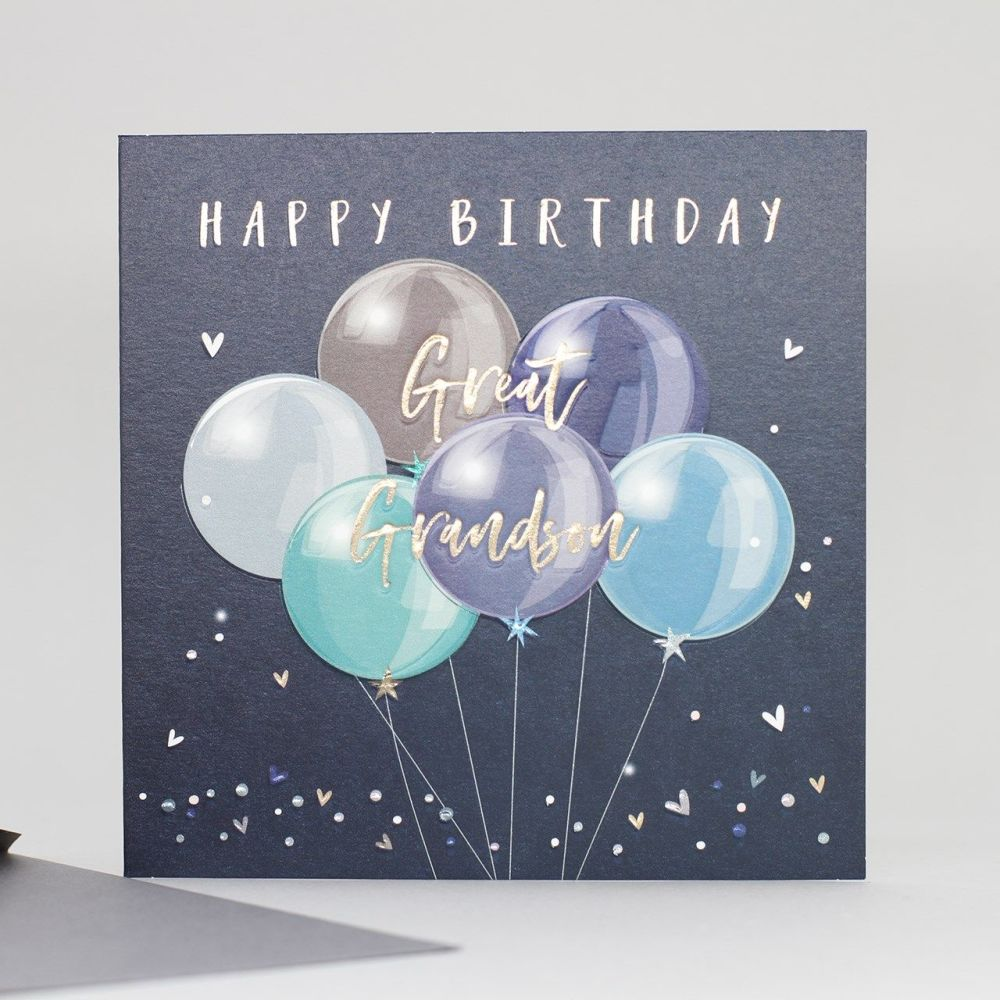Great Grandson Birthday Cards - HAPPY Birthday - BIRTHDAY Balloons Great GR