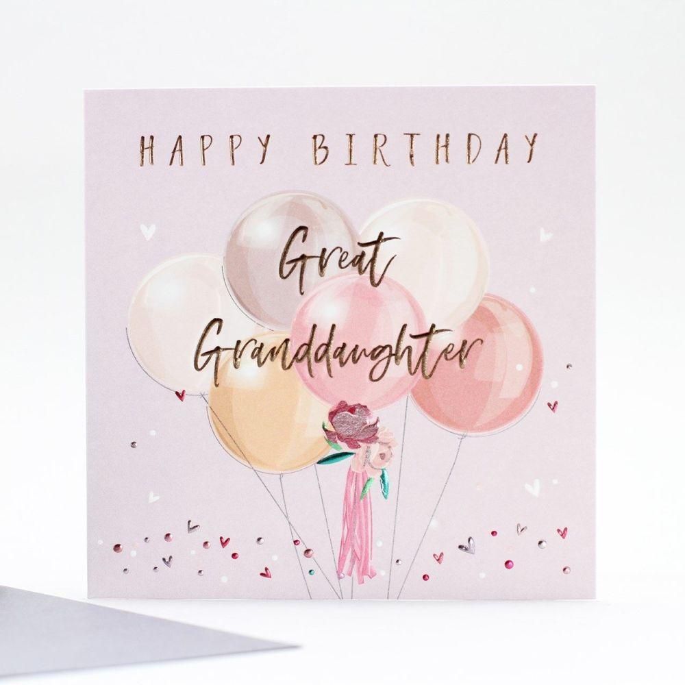 Great Granddaughter Birthday Cards - HAPPY Birthday - BIRTHDAY Balloons Gre