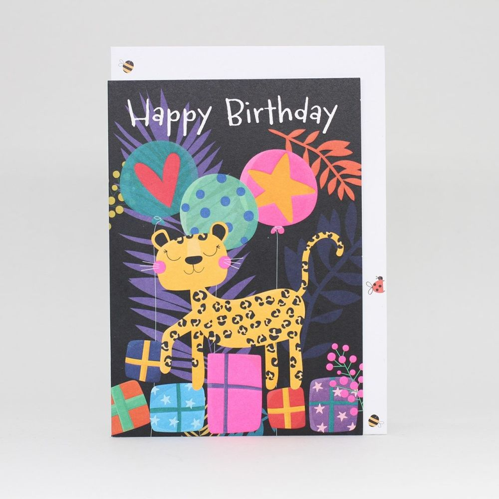Childrens Birthday Cards - HAPPY BIRTHDAY - Beautiful LEOPARD With Presents