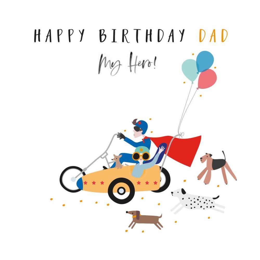 Happy Birthday Dad Greeting Card - MY HERO - Dad HERO Card - Happy BIRTHDAY