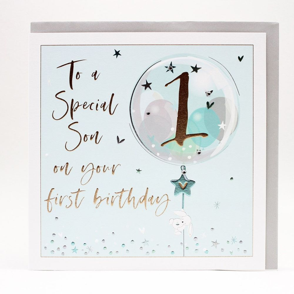 1st Birthday Card For Special Son - LARGE Boxed GREETING Card - To A SPECIA