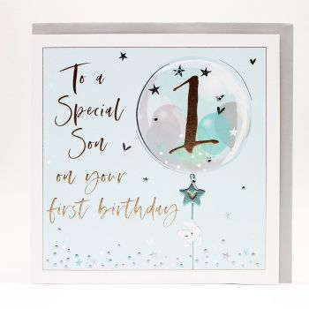 1st Birthday Card For Special Son - LARGE Boxed GREETING Card - To A SPECIAL SON - 1st BIRTHDAY - Son 1st BIRTHDAY Cards - 1st BIRTHDAYS