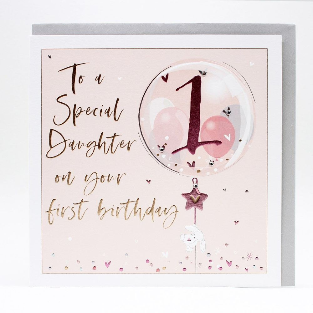 1st Birthday Card For Special Daughter - LARGE Boxed GREETING Card - To A S