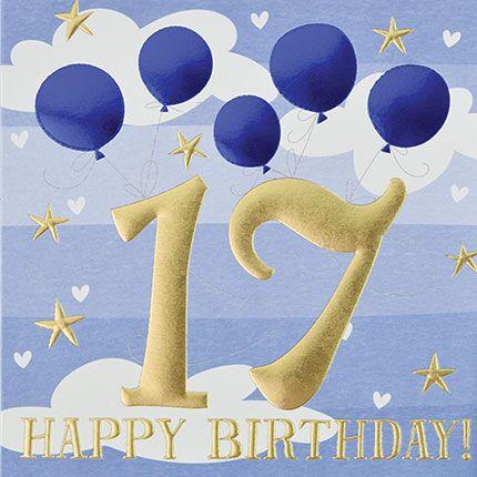 17th Birthday Card - 17 HAPPY BIRTHDAY - Blue BALLOONS & CLOUDS Birthday CA