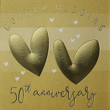 50th Anniversary Cards - GOLDEN Wedding 50th ANNIVERSARY - Golden WEDDING C