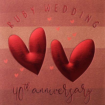 40th Anniversary Cards - RUBY Wedding 40th ANNIVERSARY - Ruby WEDDING Cards