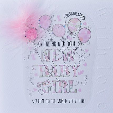 New Baby Cards Online - NEW Baby Girl Congratulations - LUXURY Boxed CARD -