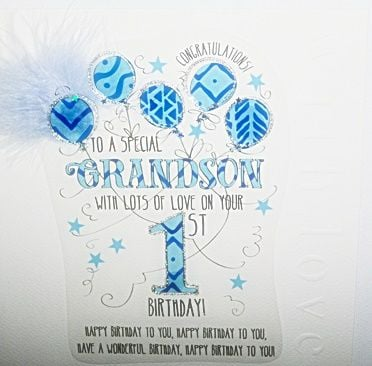 1st Birthday Card For Grandson - WITH Lots Of LOVE On Your 1st BIRTHDAY - LUXURY Boxed CARD - 1st BIRTHDAY - Birthday CARD For SPECIAL Grandson