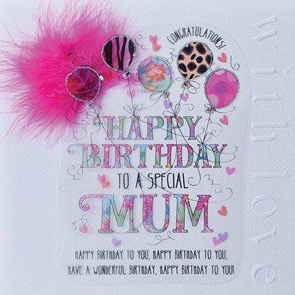 Happy Birthday To A Special Mum Card - LUXURY Boxed BIRTHDAY Card - PRETTY