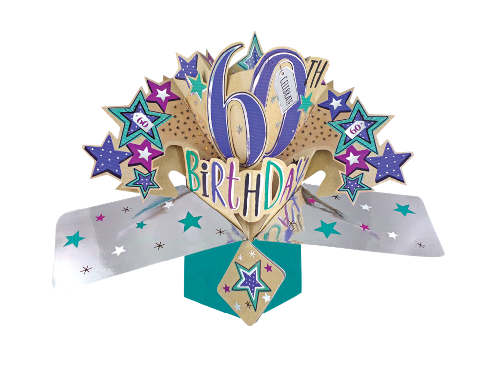 60th Birthday Pop Up Cards - CELEBRATE 60 - 3D CARDS - 60th BIRTHDAY Cards