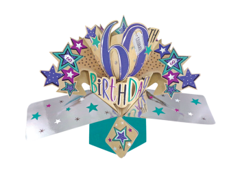 60th Birthday Pop Up Cards - CELEBRATE 60 - 3D CARDS - 60th BIRTHDAY Cards - FUN Colourful 60th BIRTHDAY Card - 60th BIRTHDAY Wishes - 60th BIRTHDAY