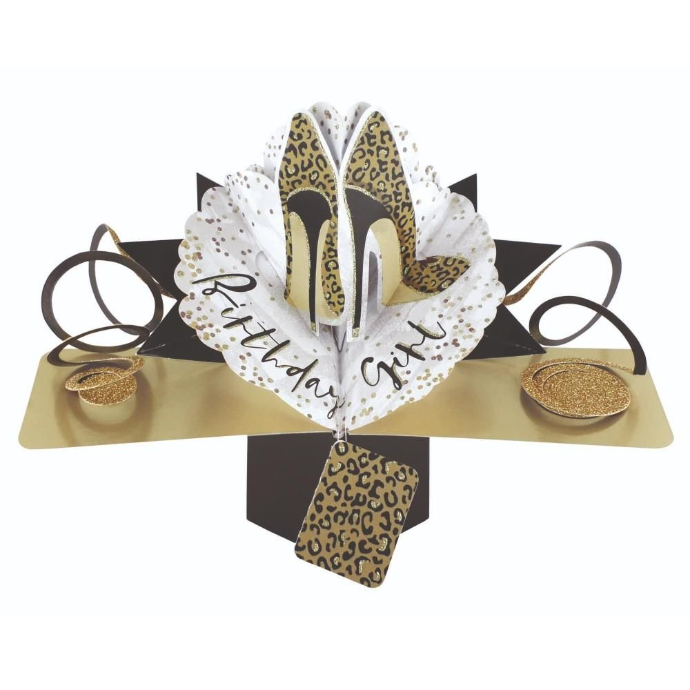 Leopard Print Shoes Birthday Card - SASSY Lady BIRTHDAY Card - POP Up CARD