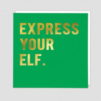 Elf Christmas Cards - EXPRESS Your ELF - Funny CHRISTMAS Cards - CHRISTMAS Cards - GOLD Foil CHRISTMAS Card - FUNNY Elf CHRISTMAS Cards