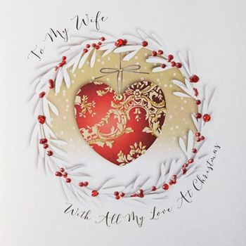 Luxury Christmas Card For A Wife - WITH All My LOVE At CHRISTMAS - Wife CHRISTMAS Cards - BEAUTIFUL Embellished CHRISTMAS Cards For WIFE