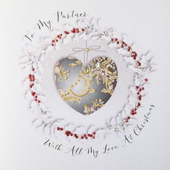 Luxury Christmas Card For A Partner - WITH All My LOVE At CHRISTMAS - Partner CHRISTMAS Cards - BEAUTIFUL Embellished CHRISTMAS Cards For HIM - HER