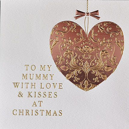 Mummy Christmas Cards - WITH Love & KISSES - CHRISTMAS Card FOR MUM - Mum C