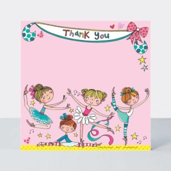 Set of 8 Ballerina Thank You Cards - GLITTERY Ballerina Thank YOU Cards - CHILDRENS Thank YOU Cards - PARTY Thank YOU Cards