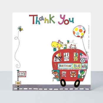 Set of 8 Birthday Bus Thank You Cards - CUTE Red BUS Thank YOU Cards - CHILDRENS Thank YOU Cards - PARTY Thank YOU Cards