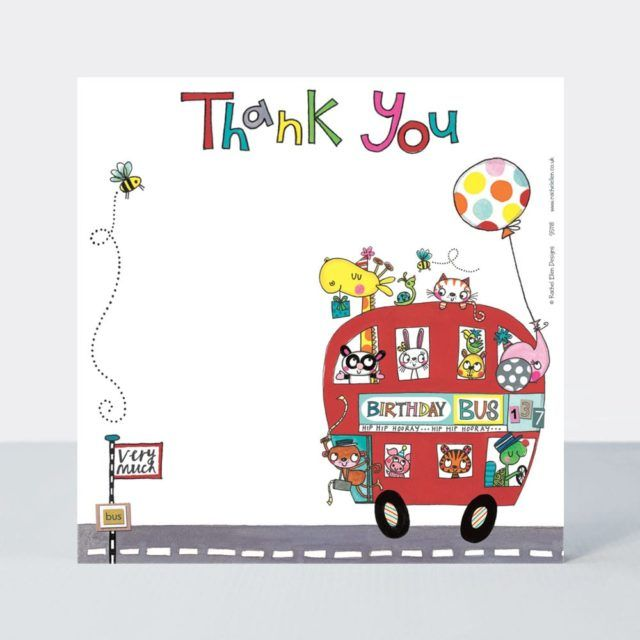 Set of 8 Birthday Bus Thank You Cards - CUTE Red BUS Thank YOU Cards - CHIL