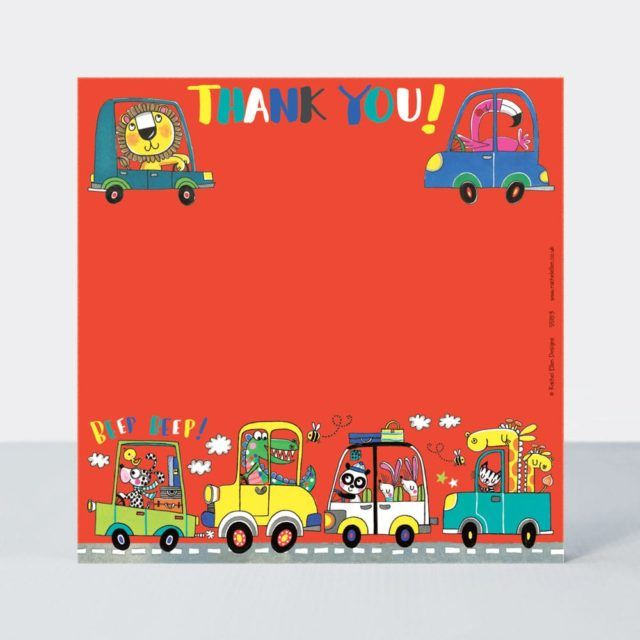 Set of 8 Cars Thank You Cards - GLITTERY Cars on the ROAD Thank YOU Cards -