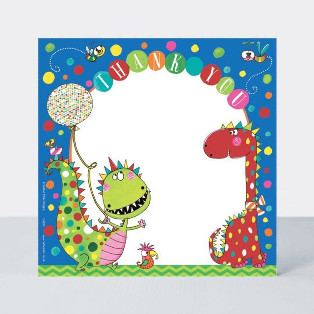 Set of 8 Dinosaur Thank You Cards - GLITTERY Dinosaurs with BALLOON Thank Y