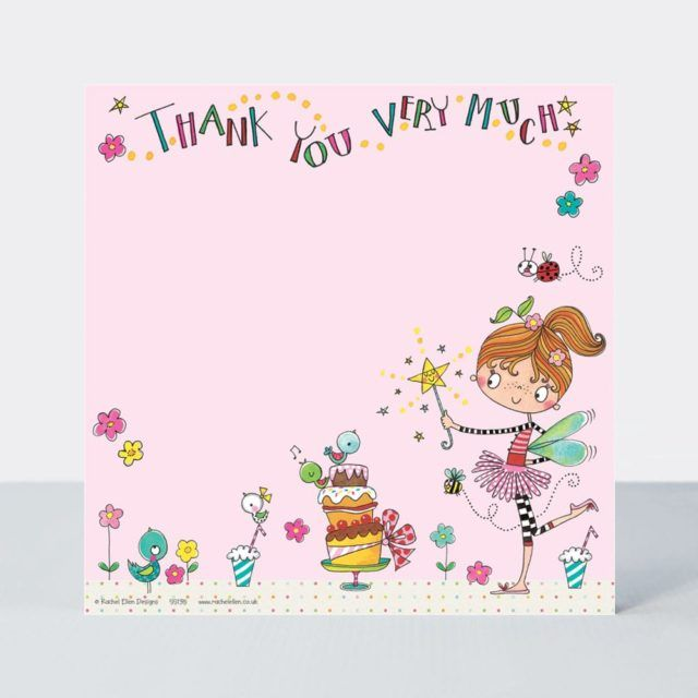 Set of 8 Fairy Thank You Cards - GLITTERY Fairy & CAKE Thank YOU Cards - CH
