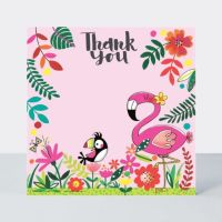 Set of 8 Flamingo Thank You Cards - GLITTERY Flamingo & PARROT Thank YOU Cards - CHILDRENS Thank YOU Cards - PARTY Thank YOU Cards