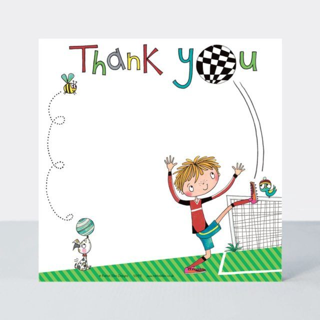 Set of 8 Footballer Thank You Cards - FOOTBALL Thank YOU Cards - CHILDRENS