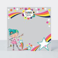 Set of 8 Girly Thank You Cards - CUTE Girl Thank YOU Cards - CHILDRENS Thank YOU Cards - PARTY Thank YOU Cards