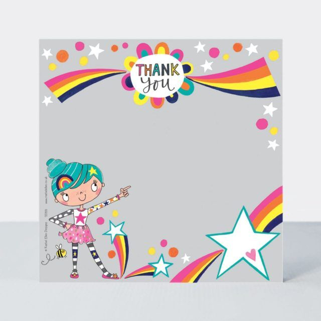 Set of 8 Girly Thank You Cards - CUTE Girl Thank YOU Cards - CHILDRENS Than