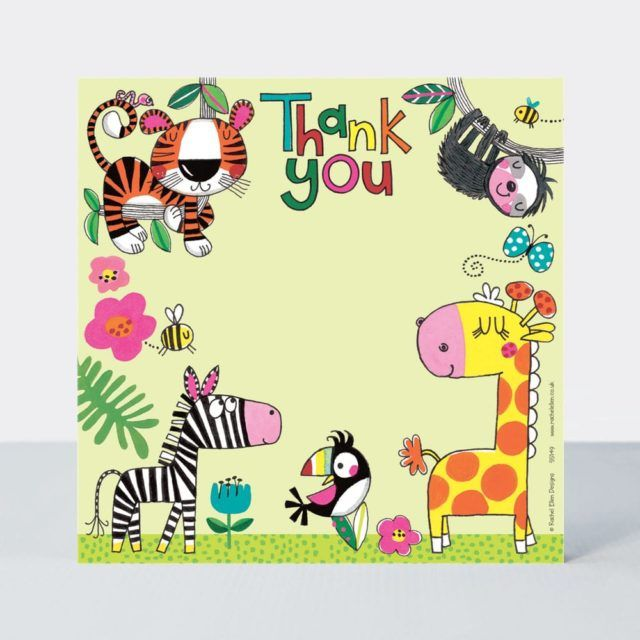 Set of 8 Jungle Thank You Cards - GLITTERY Giraffe & FRIENDS Thank YOU Card