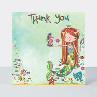 Set of 8 Mermaid Thank You Cards - GLITTERY Mermaid & SEA ANIMALS Thank YOU Cards - CHILDRENS Thank YOU Cards - PARTY Thank YOU Cards