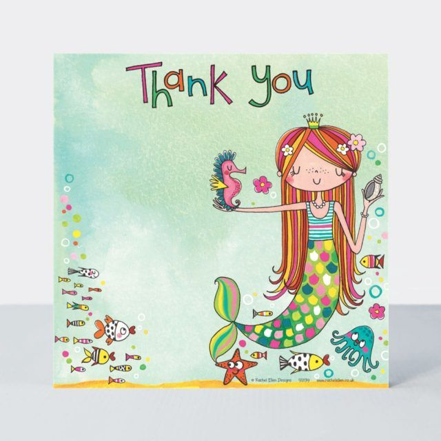 Set of 8 Mermaid Thank You Cards - GLITTERY Mermaid & SEA ANIMALS Thank YOU