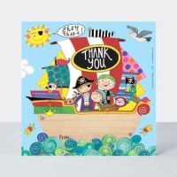 Set of 8 Pirate Ship Thank You Cards - GLITTERY Pirate SHIP & Pirates Thank YOU Cards - CHILDRENS Thank YOU Cards - PARTY Thank YOU Cards